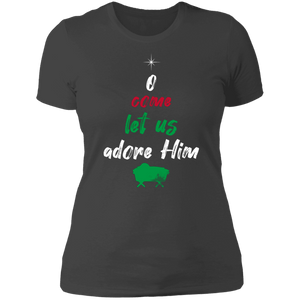 Designs by MyUtopia Shout Out:O Come Let Us Adore Him - Ultra Cotton Ladies' T-Shirt,Heavy Metal / X-Small,Ladies T-Shirts