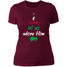 Load image into Gallery viewer, Designs by MyUtopia Shout Out:O Come Let Us Adore Him - Ultra Cotton Ladies' T-Shirt,Maroon / X-Small,Ladies T-Shirts
