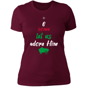Designs by MyUtopia Shout Out:O Come Let Us Adore Him - Ultra Cotton Ladies' T-Shirt,Maroon / X-Small,Ladies T-Shirts