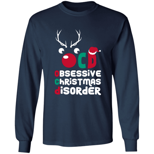 Designs by MyUtopia Shout Out:OCD - Obsessive Christmas Disorder - Ultra Cotton Long Sleeve T-Shirt,Navy / S,Long Sleeve T-Shirts