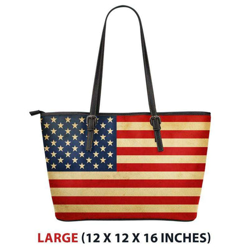 Designs by MyUtopia Shout Out:Old Glory American Flag Faux Leather Totebag Purse,Large (11 T x 17 x 6) / Red/White/Blue,tote bag purse