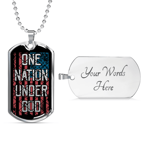 Designs by MyUtopia Shout Out:One Nation Under God Personalized Engravable Keepsake Dog Tag,Silver / Yes,Dog Tag Necklace