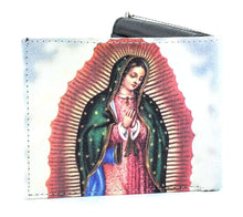 Load image into Gallery viewer, Designs by MyUtopia Shout Out:Our Lady of Guadalupe Vegan Leather Bifold Men's Wallet with Flip Up ID Window
