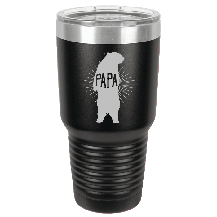 Designs by MyUtopia Shout Out:Papa Bear Engraved Polar Camel 30 oz Engraved Insulated Double Wall Steel Tumbler Travel Mug,Black,Polar Camel Tumbler