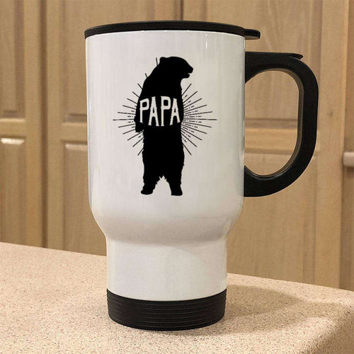 Designs by MyUtopia Shout Out:Papa Bear Stainless Steel Travel Coffee Mug w. Twist Close Lid,White / 14 oz,Travel Mug