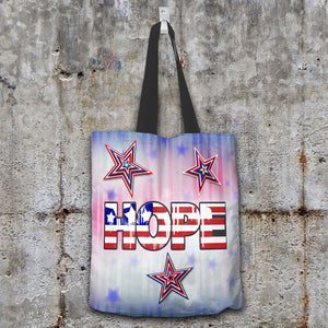 Designs by MyUtopia Shout Out:Patriotic Totebag - Hope Fabric Totebag Reusable Shopping Tote