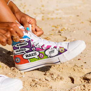 Designs by MyUtopia Shout Out:Personalize it! Nurse Themed Comic Strip Canvas High Top Shoes (Your Text in 3 Main Bubbles),Women's / Ladies 6 (EU36) / Multicolor,High Top Sneakers