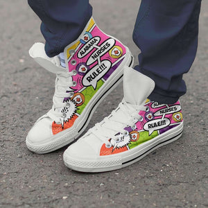 Designs by MyUtopia Shout Out:Personalize it! Nurse Themed Comic Strip Canvas High Top Shoes (Your Text in 3 Main Bubbles),Men's / Men's US 8 (EU40) / Multicolor,High Top Sneakers