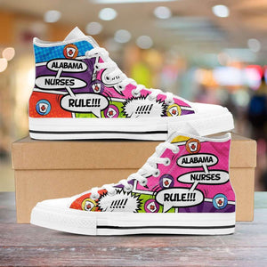 Designs by MyUtopia Shout Out:Personalize it! Nurse Themed Comic Strip Canvas High Top Shoes (Your Text in 3 Main Bubbles)