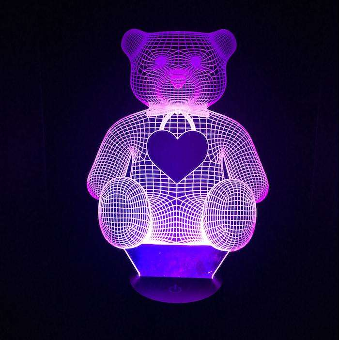 Designs by MyUtopia Shout Out:Personalize Teddy Bear USB Powered LED Night-light Lamp Glows in Multiple Colors