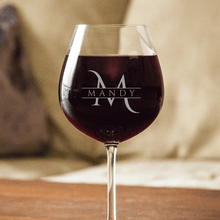 Load image into Gallery viewer, Designs by MyUtopia Shout Out:Personalized Name and Initial Engraved Wine Glass