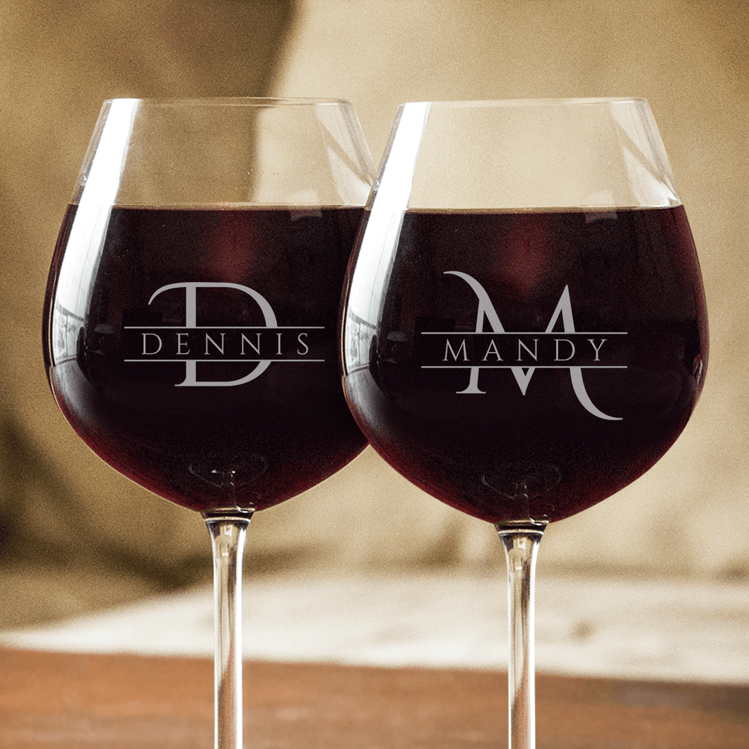 Designs by MyUtopia Shout Out:Personalized Name and Initial Engraved Wine Glass,2 Wine Glasses,Wine Glass