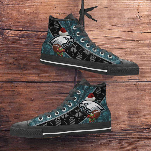 Designs by MyUtopia Shout Out:Philadelphia Eagles Christmas Football Pattern Canvas High Top Shoes,Men's / Mens US 5 (EU38) / Green/Black,High Top Sneakers