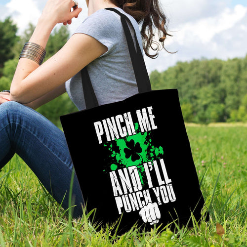 Designs by MyUtopia Shout Out:Pinch Me, I'll Punch You Fabric Totebag Reusable Shopping Tote