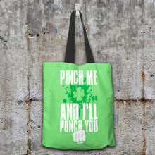 Load image into Gallery viewer, Designs by MyUtopia Shout Out:Pinch Me, I'll Punch You Fabric Totebag Reusable Shopping Tote,Pastel Green,Reusable Fabric Shopping Tote Bag
