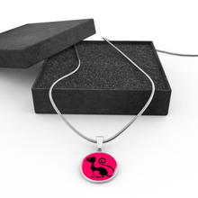 Load image into Gallery viewer, Designs by MyUtopia Shout Out:Pink Cat in Profile,Luxury Necklace w/ adjustable snake-chain / Pink/Black,Necklace
