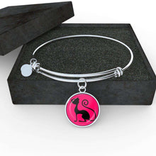 Load image into Gallery viewer, Designs by MyUtopia Shout Out:Pink Cat in Profile,Bangle-Bracelet adjustable / Pink/Black,Necklace
