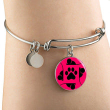 Load image into Gallery viewer, Designs by MyUtopia Shout Out:Pink Cat, Mouse and Paw print,Bangle Bracelet / Pink/Black,Necklace