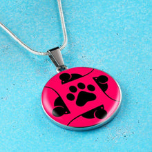 Load image into Gallery viewer, Designs by MyUtopia Shout Out:Pink Cat, Mouse and Paw print,Necklace / Pink/Black,Necklace