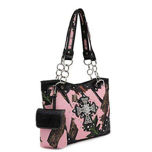 Designs by MyUtopia Shout Out:Pink Forest Camo Western Purse with Cross Bling, Cellphone Holder and Concealed Carry Pocket,Black,Handbag Purse