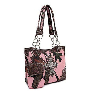 Designs by MyUtopia Shout Out:Pink Forest Camo Western Purse with Cross Bling, Cellphone Holder and Concealed Carry Pocket,Brown,Handbag Purse