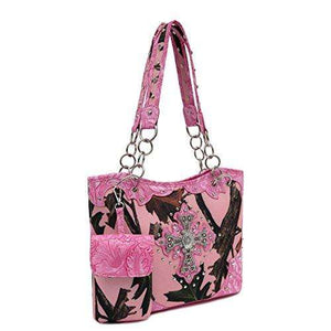 Designs by MyUtopia Shout Out:Pink Forest Camo Western Purse with Cross Bling, Cellphone Holder and Concealed Carry Pocket,Pink,Handbag Purse