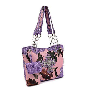 Designs by MyUtopia Shout Out:Pink Forest Camo Western Purse with Cross Bling, Cellphone Holder and Concealed Carry Pocket,Purple,Handbag Purse