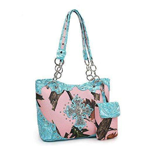 Designs by MyUtopia Shout Out:Pink Forest Camo Western Purse with Cross Bling, Cellphone Holder and Concealed Carry Pocket,Turquoise,Handbag Purse