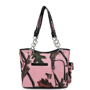 Designs by MyUtopia Shout Out:Pink Forest Camo Western Purse with Cross Bling, Cellphone Holder and Concealed Carry Pocket