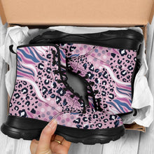 Load image into Gallery viewer, Designs by MyUtopia Shout Out:Pink Leopard and Tiger Print 7 Eye Walking Boots,Women's / Ladies US 5 (EU35),Lace-up Boots