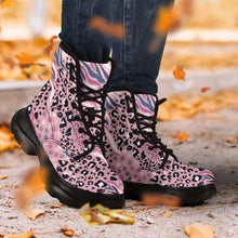 Load image into Gallery viewer, Designs by MyUtopia Shout Out:Pink Leopard and Tiger Print 7 Eye Walking Boots