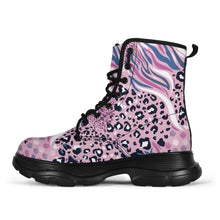 Load image into Gallery viewer, Designs by MyUtopia Shout Out:Pink Leopard and Tiger Print 7 Eye Walking Boots,Men's / Men's US 5 (EU38),Lace-up Boots
