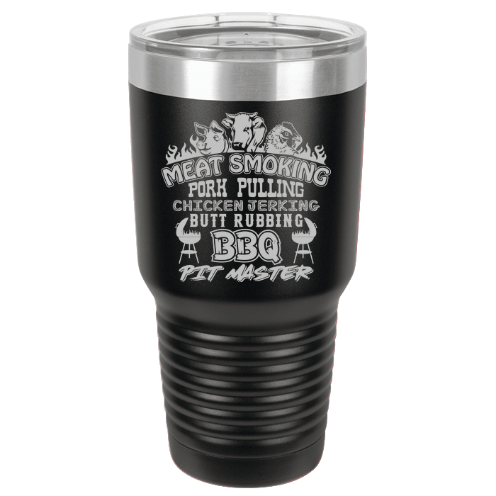 Designs by MyUtopia Shout Out:Pit Master BBQ Polar Camel 30 oz Engraved Insulated Double Wall Steel Tumbler Travel Mug,Black,Polar Camel Tumbler