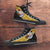 Designs by MyUtopia Shout Out:Pittsburgh Steelers Christmas Football Pattern Canvas High Top Shoes,Men's / Mens US 5 (EU38) / Black/Gold,High Top Sneakers