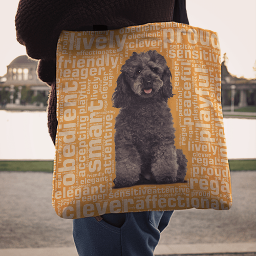 Designs by MyUtopia Shout Out:Playful Poodle Fabric Totebag Reusable Shopping Tote