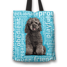 Load image into Gallery viewer, Designs by MyUtopia Shout Out:Playful Poodle Fabric Totebag Reusable Shopping Tote,Blue,Reusable Fabric Shopping Tote Bag