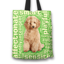 Load image into Gallery viewer, Designs by MyUtopia Shout Out:Playful Poodle Fabric Totebag Reusable Shopping Tote,Green,Reusable Fabric Shopping Tote Bag