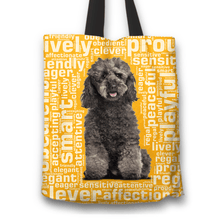 Load image into Gallery viewer, Designs by MyUtopia Shout Out:Playful Poodle Fabric Totebag Reusable Shopping Tote,Gold,Reusable Fabric Shopping Tote Bag
