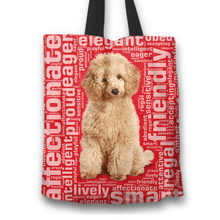 Load image into Gallery viewer, Designs by MyUtopia Shout Out:Playful Poodle Fabric Totebag Reusable Shopping Tote,Red,Reusable Fabric Shopping Tote Bag
