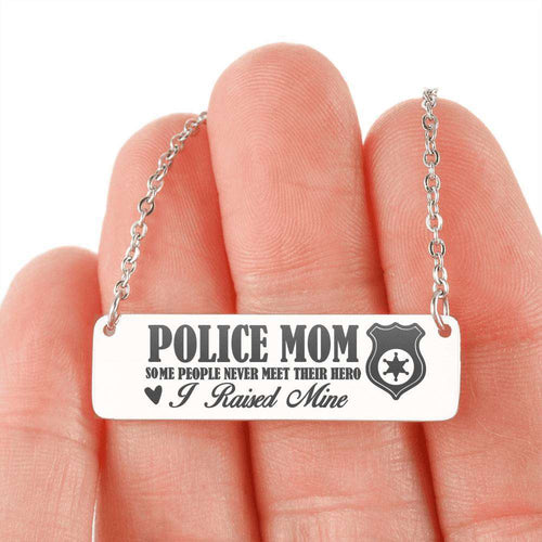 Designs by MyUtopia Shout Out:Police Mom ... I Raised My Hero Engraved Personalized Bar Necklace,Stainless Steel Horizontal Bar Necklace / No,Necklace