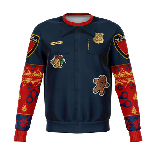 Designs by MyUtopia Shout Out:Police Navidad - Funny Christmas Fleece Lined Fashion Sweatshirt,XS / Blue,Fashion Sweatshirt - AOP