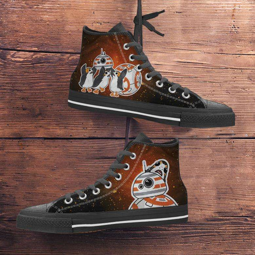 Designs by MyUtopia Shout Out:Porgs Playing with BB-8 Canvas High Top Shoes,Men's / Mens US 5 (EU38) / Black / Orange,High Top Sneakers