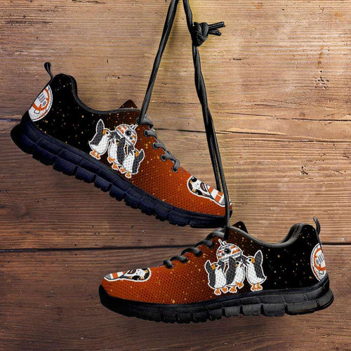 Designs by MyUtopia Shout Out:Porgs Playing with BB-8 Running Shoes,Men's / Mens US5 (EU38) / Orange/Black,Running Shoes