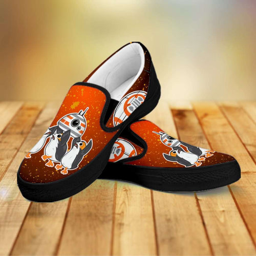 Designs by MyUtopia Shout Out:Porgs Playing with BB-8 Slip-on Shoes,Men's / Mens US8 (EU40) / Orange,Slip on sneakers