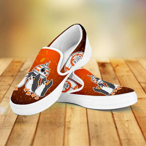 Designs by MyUtopia Shout Out:Porgs Playing with BB-8 Slip-on Shoes White