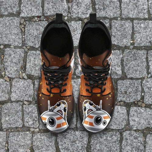 Designs by MyUtopia Shout Out:Porgs Playing with BB-8 Vegan Leather Boots