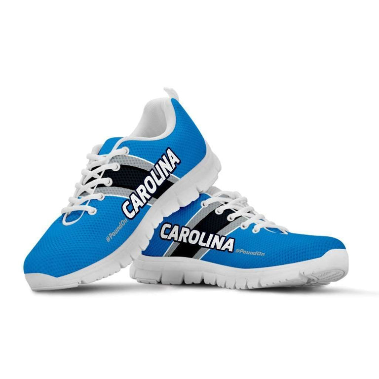 Designs by MyUtopia Shout Out:#PoundOn Carolina Fan Running Shoes,Kid's / 11 CHILD (EU28) / Blue/Black,Running Shoes