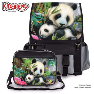 Designs by MyUtopia Shout Out:Precious Pandas Backpack And Lunchbox set,Black,Backpacks