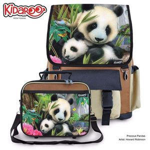 Designs by MyUtopia Shout Out:Precious Pandas Backpack And Lunchbox set,Brown,Backpacks