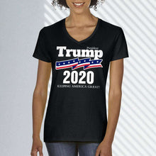 Load image into Gallery viewer, Designs by MyUtopia Shout Out:President Trump 2020 Ladies' V-Neck T-Shirt